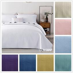 Soft Microfiber Bedspread Lightweight Coverlet 3 Pieces Quee