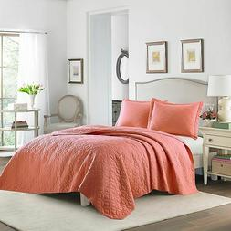 Laura Ashley Solid 3-Piece Full/Queen Quilt Set in Coral