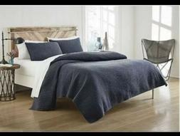 Cannon Solid Denim Quilt Set  w 2 Shams Enzyme Washed Solid