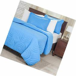 Bedford Home Solid Embossed 3 Piece Quilt Set - King - Blue