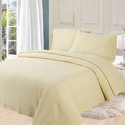 AMWAN ON SALE Solid Yellow Cotton Quilt Bedspread Set Queen