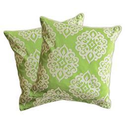 """Lush Decor Sophie Zipper Pillow Shell , 18 x 18"""", Green"""