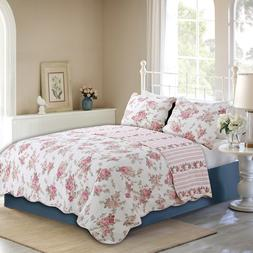 Spring Rose Floral Reversible 100%Cotton 3-Piece Quilt Set,