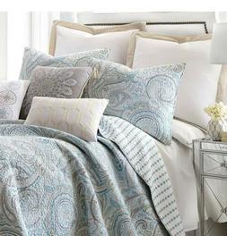 Spruce Spa King Cotton Quilt Set, Blue