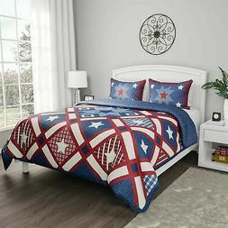 Stars Stripes Patriotic Americana Quilt Set Bedspread Quilte