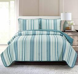 Pur Luxe Stripe Quilt Set, Full/Queen, Striped, Teal with Aq
