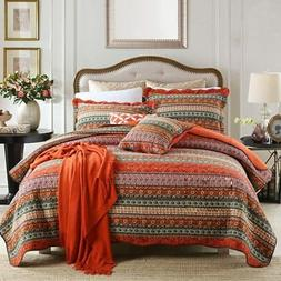 NEWLAKE Striped Classical Cotton 3-Piece Patchwork Bedspread
