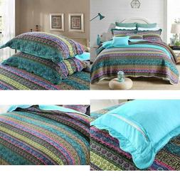 Newlake Striped Jacquard Style Cotton 3-Piece Patchwork Beds