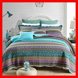 NEWLAKE Striped Jacquard Style Cotton Patchwork Bedspread Qu