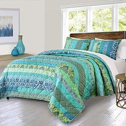 3 Piece Stripes Floral Motif Quilt Set King Size, Ravishing