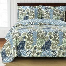 Stunning Elena Green Forest Quilt Bedding Oversized Reversib