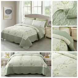 Summer Bedspreads Embroidery Floral Quilts Lightweight Cover