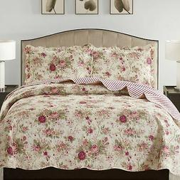 Suzy 3 Piece Quilt Set queen and king size - Rose