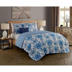 Avondale Manor Tabitha 5-Piece Quilt Set, King, Blue
