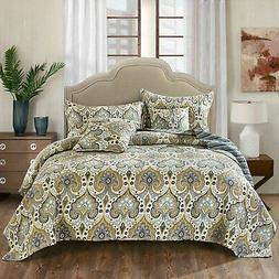 Tache Paisley Green Blue Spades Quilted Bohemian Coverlet Be