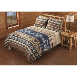 3 Piece Tan Brown Blue Deer Southwest Quilt Queen Set, Hunti