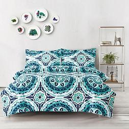 Wake In Cloud - Teal Comforter Set, Turquoise and Navy Blue