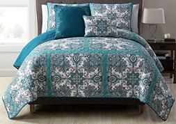 VCNY Teal Istanbul 5-Piece King Quilt Set, Blue