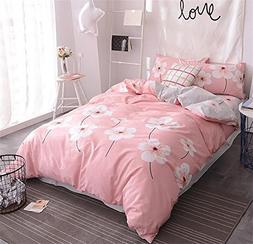 EnjoyBridal Full Size Girls Comforter Set Pink Flowers Cotto