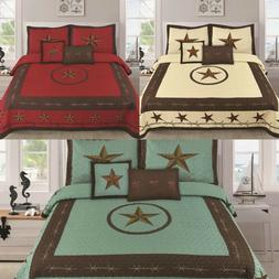Texas Western Design Star Barbed Wire Quilt BedSpread - 5 PI