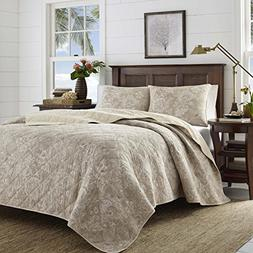 Tommy Bahama Tidewater Jacobean Quilt Set, King, Medium Brow