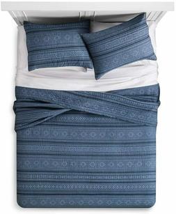 Mudhut Tonal Stripe Quilt and Sham Set, Size: Full Queen - 1