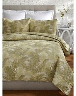 TOMMY BAHAMA Tossed Palm Tree Tropical Green Cream 3pc KING