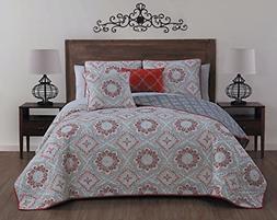 Avondale Manor Tova 5Piece Quilt Set,Red,King