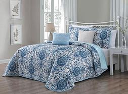 Avondale Manor Trista 5-Piece Quilt Set, Queen, Blue