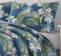 Tropical Exotic Floral Quilt Set Teal Blue Tommy Bahama Bedd