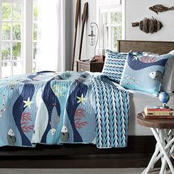 Tropical Fish, Beach House, Nautical, Cottage, Twin Quilt &