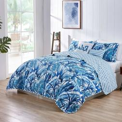 Tropical Oasis Quilt Set 5 pieces King Palm Lush Leaf Beddin
