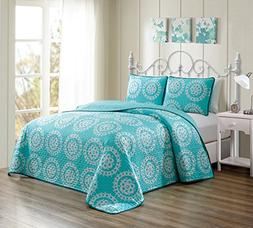 GrandLinen 3 Piece Turquoise BlueWhite Scroll Fine printed P