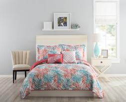 Turquoise Coral Tropical Oasis Quilt Set Full/Queen Palm Lea