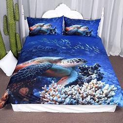 Arightex Turtle Bedding Sea Blue Duvet Cover Ocean 3d Corals