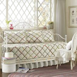 Laura Ashley Twin 5pc Daybed Quilt Set Ruffled Garden Quilt