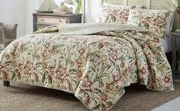 Tommy Bahama Twin Cotton Quilt & Sham Set Tropical Lily Reve
