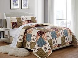 Mk Home 2pc Twin/Twin Extra Long Bedspread Quilted Print Flo