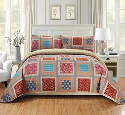Fancy Linen 2pc Twin/Twin Extra Long Quilt Bedspread Set Ove