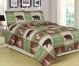 Twin, Full/Queen, or King Cabin Bear Quilt Set Country Rusti