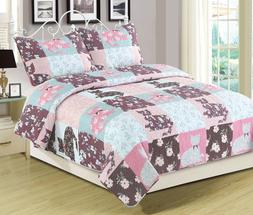 Twin, Full/Queen, or King Quilt Floral Patchwork Cats Bedspr