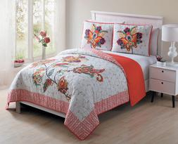 Twin, Full/Queen or King Quilt Paisley Floral Embroidered Fi