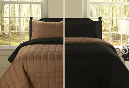 Twin Full/Queen or King Reversible Quilt Set Black Brown Bed