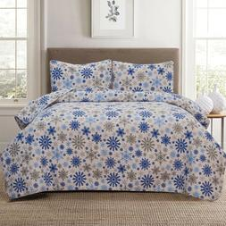 Twin, Full/Queen or King Winter Snowflake Quilt Bedding Set