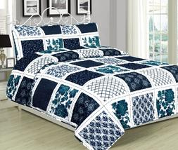 Twin, Queen, or King Quilt Patchwork Navy Blue White Teal Be