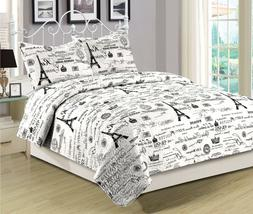Twin, Queen, or King Size Bedding Quilt Set Paris Eiffel Tow