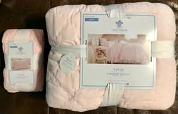 Simply SHABBY CHIC TWIN QUILT & SHAM SET 2 PIECES Soft PINK