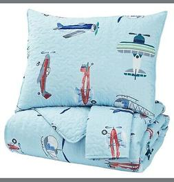TWIN QUILT SET - Sky Blue w/ Airplanes & Helicopters - McAll