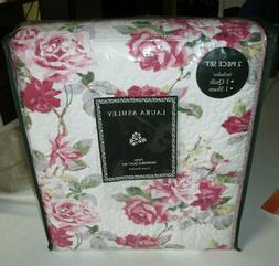 LAURA ASHLEY Twin Size Quilt Set 2PC PINK RED ROSE FLORAL