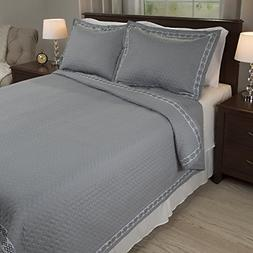 Bedford Home Valencia Embroidered 2 Piece Quilt Set - Twin